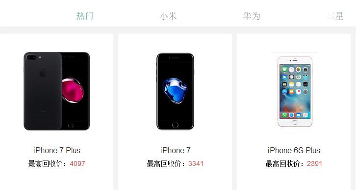 二手手机交易市场之苹果手机回收价格图片